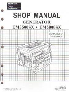 Honda EM3500X EM3500SX EM5000X And EM5000SXK0-K1 Generator Shop Manual