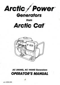 Arctic Cat 1400G 2500G Generator Owners Manual